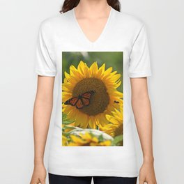 The butterfly the bee and the sunflower Unisex V-Neck