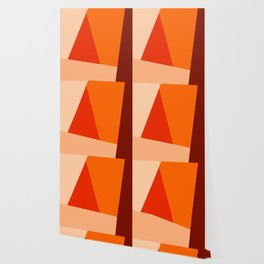 Geometric Abstraction in Red and Orange Wallpaper