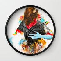 depression Wall Clocks featuring  Happy Depression by niuku