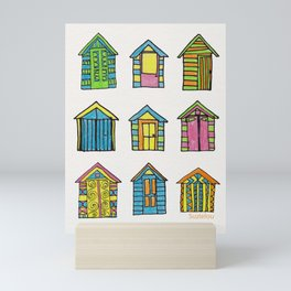 Summer Beach Huts Neon Mini Art Print
