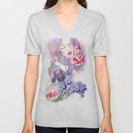 Girl in violet flower Unisex V-Neck