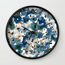 Georgia Floral Blue Wall Clock