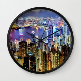 Hong Kong City Skyline Wall Clock