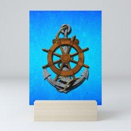 Nautical Ships Wheel And Anchor Mini Art Print