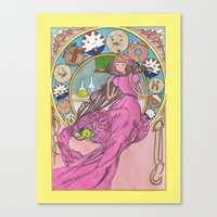 mucha Canvas Prints featuring Mucha Bubblegum by Joyia Kelly