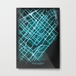 Mississauga, ON, Canada, Blue, White, Neon, Glow, City, Map Metal Print