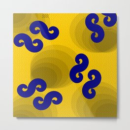 African wax print yellow and blue Metal Print