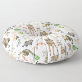 Woodland Animals Watercolor Floor Pillow
