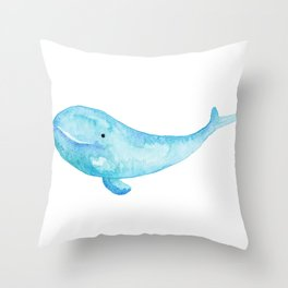 Cute Whale Watercolor Painting Ocean Life Saltwater Blue Whale Throw Pillow