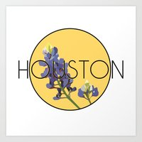houston Art Prints featuring HOUSTON by Lauren Jane Peterson