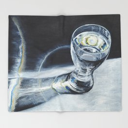 Glass of the water in the light Throw Blanket