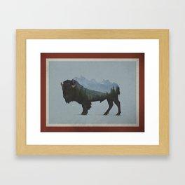 Wyoming Bison Flag Framed Art Print