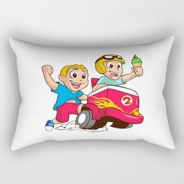 Two children and the ice cream cart Rectangular Pillow