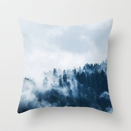 CLOUDS - WHITE - FOG - TREES - FOREST - LANDSCAPE - NATURE - TIMBER - WOODS - PHOTOGRAPHY Throw Pillow