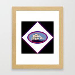 A Nautical Oval Ship Framed Art Print