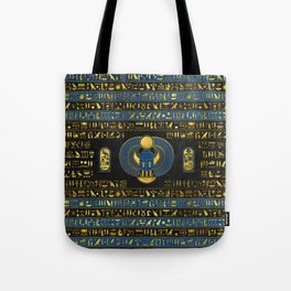 Golden Egyptian Scarab Ornament on  leather Tote Bag