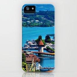 Lake Lucerne, Switzerland Chapel Covered Bridge iPhone Case