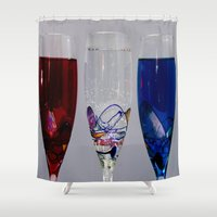 glasses Shower Curtains featuring glasses by Doug McRae