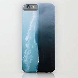 Black sand beach in iceland and blue ocean waves - Landscape Photography iPhone Case