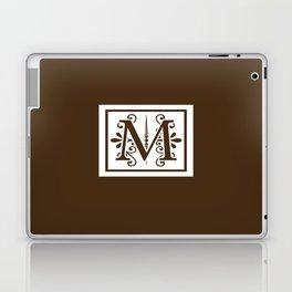 Monogram Letter M on Dark Brown Laptop & iPad Skin