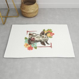 Cow With Floral Decorations Rug