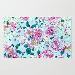 Vintage modern pink green teal watercolor floral Rug