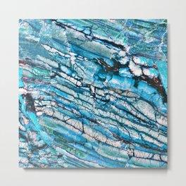 Blue Marble with Black Metal Print
