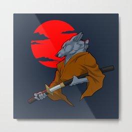 Wolf Samurai Metal Print