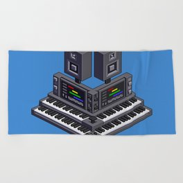 Electronic music altar — isometric pixel art Beach Towel