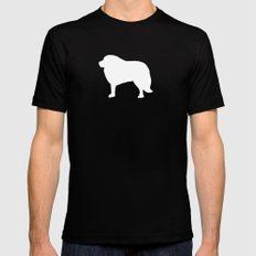 Big White Dog Black Mens Fitted Tee MEDIUM