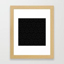 Black and Dark Grey Damask Pattern Framed Art Print