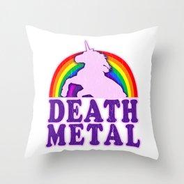 Funny Death Metal Unicorn Rainbow T-Shirt Throw Pillow