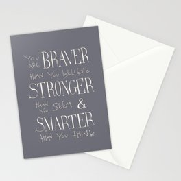 """Winnie the Pooh quote """"You are BRAVER"""" Stationery Cards"""
