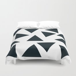 Black pizza triangles on white Duvet Cover