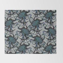 octopus ink smoke Throw Blanket
