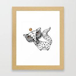 Fox and gold Framed Art Print