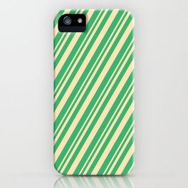 Beige and Sea Green Colored Stripes/Lines Pattern iPhone Case