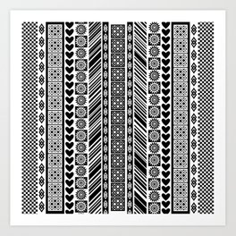 Black and White Adinkra Symbol African Print Pattern Art Print