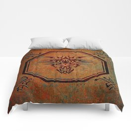 Tribal Dragon Head In Octagon With Dragon Chinese Characters Comforters