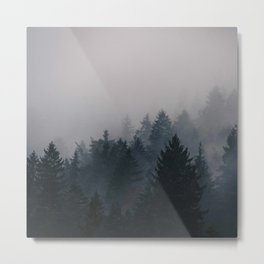 Watercolor Pine Forest Mountains in the Fog Metal Print