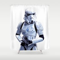 trooper Shower Curtains featuring Tattooed Trooper by Dr.Söd