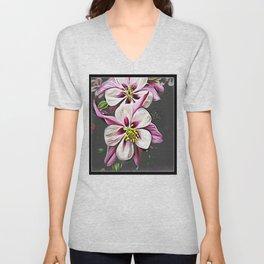 Floral Embosses: Double Columbine 01-01 Unisex V-Neck
