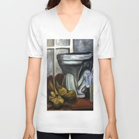 toilet V-neck T-shirts featuring Boots and toilet by spiderdave7