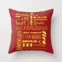 gryffindor Throw Pillows featuring Gryffindor by husavendaczek