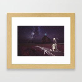 Kiss of love in space Framed Art Print