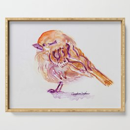 Little Purple Brown Sparrow watercolor by CheyAnne Sexton Serving Tray