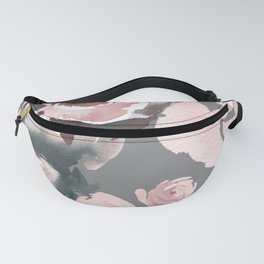 Pink Roses Grey Floral Fanny Pack