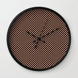 Black and Peach Cobbler Polka Dots Wall Clock