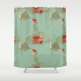 Airship and the Irish Lighthouse Shower Curtain
