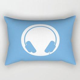 Symbol: Headphones white on blue Rectangular Pillow